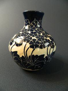 Primrose Vase. Cobalt on white clay
