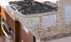 recycled glass counter top