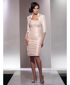 Classic Strapless Knee Length Taffeta Sheath Column Mother Of The Bride Dress With Jacket