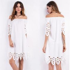 2017 Beach Tunic Dress Pattern Type: SolidFit: Fits true to size, take your normal sizeMaterial: cotton polyGender: Swimwear WomenColor: White Beach Cover UpPa