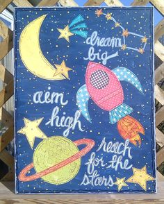 Dream Big Original Mixed Media Canvas MADE TO ORDER by erikaerin, $99.95 Mixed Media Journal, Mixed Media Canvas, School Themes, Classroom Themes, Art Lessons For Kids, Art For Kids, Kids Art Space, Aim High, Sistema Solar