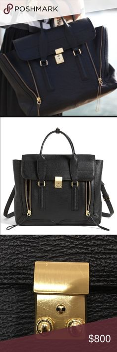 "Philip Lim large black pashli Worn twice. Amazing condition and almost zero signs of wear. Bought in 2014. Large black pashli. Great bag for work and travel. leather is exceptionally durable. Gold hardware almost no scratches. Interior impeccable. A chic shark-embossed leather style with expandable zipper details. Double top handles, 4.5"" drop Detachable, adjustable shoulder strap, 23""-26.5"" drop Flap and buckle closure Double expandable front zippers. One inside zip pocket. Fully lined…"