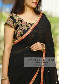 PV 3578 : Black and Black. Price : This very dark georgette stone studded black coloured sari finished with pink border is striking and elegant. You cant go wrong with this one this december Unstitched blouse piece : Black rich maggam work with zardos Trendy Sarees, Stylish Sarees, Fancy Sarees, Simple Sarees, Saree Blouse Neck Designs, Saree Blouse Patterns, Dress Neck Designs, Modern Saree, Elegant Saree