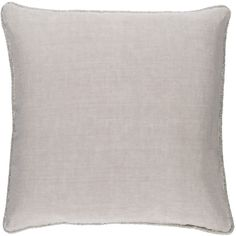 Surya Sasha Light Gray Decorative Pillow ($96) ❤ liked on Polyvore featuring home, home decor, throw pillows, beaded throw pillows, surya, plush throw pillows and linen throw pillows