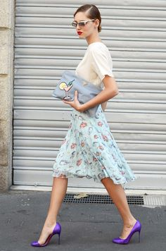Girly Pastel Combo with purple pumps street style #fashion Chiara Ferragni of The Blonde Salad