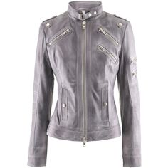 Schyia Dark Grey Biker Leather Jacket... In love with this one! bc3b14f60aee