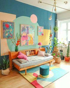 Room Colors, House Colors, Living Room Decor, Bedroom Decor, Colourful Living Room, Deco Originale, Colorful Apartment, Decoration, Home Interior Design