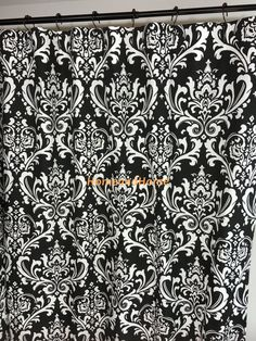 Custom Fabric Shower Curtain Ozbourne Damask Black White 54 X 78 72 X 84 108 Long Shower Curtain Extra Wide Shower Curtain