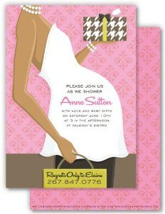 Pregnant Belly Pink African American Baby Shower Invitation by Doc Milo. $1.18. .