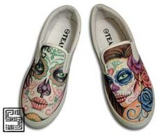 I designed these shoes for a friend of mine. He wanted to buy something that no one else has, for his sisters birthday. So he asked me to do them and he gave them to her. I was happy to do them. The day of the dead theme is growing popular in the tattoo industry and these shoes with ink are no different. Recently I have been receiving more request for this type of design for tattoos, paintings, and shoes. To see more Shoes With Ink visit us: www.seriousart.net