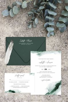Emerald – Abstract Green Watercolor Wedding Invitation Template Suite – Invitation Ideas for 2020 Winter Wedding Invitations, Wedding Invitation Templates, Invitation Suite, Invites, Emerald Green Weddings, Green Watercolor, Watercolor Wedding Invitations, Wedding Cards, Dream Wedding