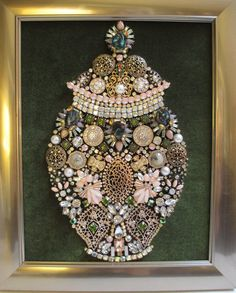 Your place to buy and sell all things handmade - Jeweled Framed Jewelry Ginger Jar Vase Urn Olive Green Gold Pink Vintage Detailed Fabulous - Costume Jewelry Crafts, Vintage Jewelry Crafts, Antique Jewelry, Victorian Jewelry, Dainty Jewelry, Silver Jewelry, Jewelry Frames, Jewelry Tree, Button Art