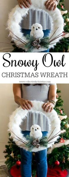 Easy to make snowy owl Christmas wreath tutorial. Add this beautiful wreath to your door or a wall that you want to deco Owl Crafts, Wreath Crafts, Diy Wreath, Christmas Crafts, Christmas Decorations, Tulle Wreath, Wreath Ideas, Owl Decorations, Wreath Boxes