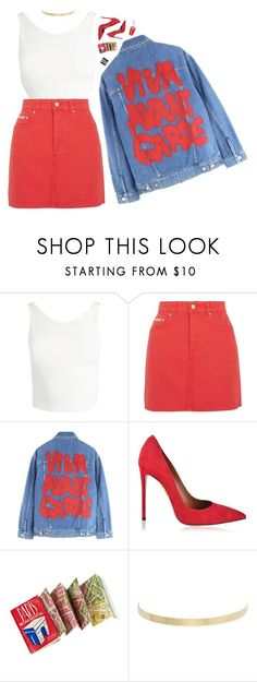 """""""ciao adios I'm done"""" by loasanchez ❤ liked on Polyvore featuring Sans Souci, AlexaChung, Jeremy Scott, Aquazzura and Kenneth Jay Lane"""