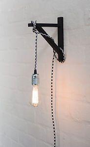 Interior-Deco-Black-Wall-Bracket-Hook-DIY-Plug-In-Cord-Wall-Light-Pendant-Design