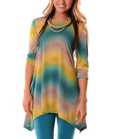 Look at this Teal & Green Ombré Sidetail Tunic - Plus on #zulily today!