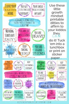 Positive Affirmations for Kids-Printable Growth Mindset Notes & Poster – The Kitchen Table Classroom – Kinder Growth Mindset Lessons, Growth Mindset Posters, Growth Mindset For Kids, Growth Mindset Activities, Growth Mindset Classroom, Positive Affirmations For Kids, Affirmations Positives, Motivation Positive, Positive Quotes