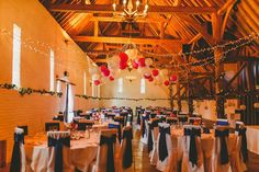 The tithe barn at #uftoncourt set up for a wedding breakfast