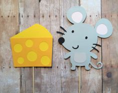 Mouse And Cheese Cake Topper- Smash cake, first birthday