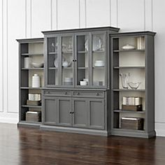 Cameo 4 Piece Grey Gl Door Wall Unit W Open Bookcases Bookcase