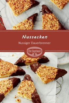 Nussecken Nut corners: Crunchy nut corners with chocolate cookies Dessert Parfait, Dessert Bars, Dairy Free Chocolate Cake, German Baking, Homemade Donuts, How To Eat Paleo, Paleo Dessert, Cookies Et Biscuits, Baking Cookies