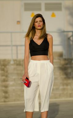 black crop top and white culottes