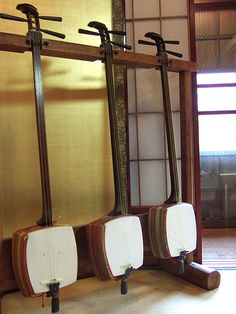 "The Shamisen - The Shamisen is Three-Stringed Japanese Musical Instrument Played by ""Plucking"" the Strings with a Bachi."