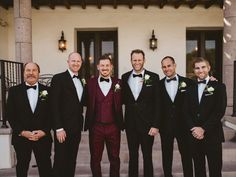 Gatsby Groomsmen | coloured maroon suit | great groom style | Kimberly Caldwell's wedding