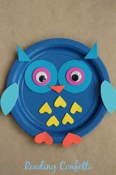 Owl Crafts Kids, Paper Plate Crafts For Kids, Animal Crafts For Kids, Bird Crafts, Toddler Crafts, Preschool Crafts, Craft Kids, Craft Work, Easter Crafts