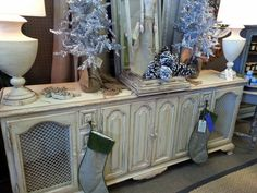 Incredible dresser/buffet painted with farmhouse paint color creamy linen