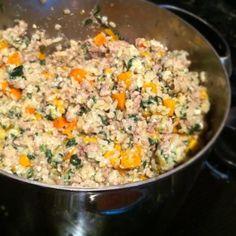 Homemade Dog Food Recipe - beef, chicken, turkey, carrots, rice, sweet potatoes, dogs love it!!