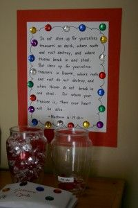 Treasure Jar for rewarding Christ like behavior. The best one I've seen so far..teaches 'storing up treasures in heaven' rather than on earth. I like putting Jesus into the reason why good behavior the right choice.