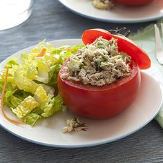 Tuna and Avocado-Stuffed Tomatoes #recipe