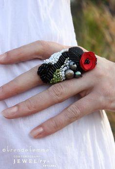 Felted and Beaded Couture Statement Ring