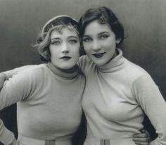Marion Cecilia Elizabeth Brooklyn Douras a.k.a. Marion Davies (L) (1897-1961) was an American film actress and later philanthropist.  Women on (R) as yet unidentified.