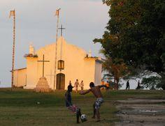 Quadrado de Trancoso - soccer game at sunset. Bahia, Brasil.
