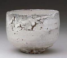 """MIWA, Jusetsu (Kyusetsu XI)  1910 - 2012 Chawan, """"Mine-no-yuki"""", shira-hagi type, 1967"""