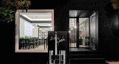Restaurant designed by Eleftherios Ambatzis, Athens, Greece Restaurant Design, Where To Go, Bathroom Lighting, Oversized Mirror, Entrance, Architecture, Athens Greece, Furniture, Restaurants