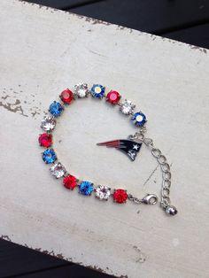 New England Patriots Swarovski crystal charm bracelet  on Etsy, $35.00