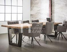 Table à manger industrielle en acacia et inox brossé MUNICH 2