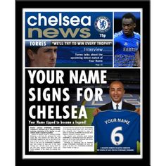 News and entertainment: man city (Jan 01 2013 - . Chelsea Fans, Football Newspaper, Newspaper Printing, Personalized Football, Picture Gifts, Stamford Bridge, Sports Gifts, Your Name