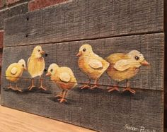 Items similar to Spring Chick Pallet Painting, Distressed Wood Art, Pallet Art, Easter Decor on Etsy Pallet Painting, Pallet Art, Tole Painting, Painting On Wood, Clown Paintings, Farm Paintings, Farmhouse Paintings, Mountain Paintings, Distressed Painting