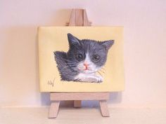 Grey Kitten Cat Hand Painted Mini Painting Canvas, 7 x 9 cm #cats #kittens #cute #handpainted #christmas #gifts