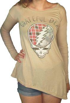Women Grateful Dead Long Sleeve Shirt by Junk Food Grateful Dead Skull, Grateful Dead Shirts, Cool Tee Shirts, Graphic Tee Shirts, Junk Food Tees, Vintage Rock T Shirts, Grey Fabric, Long Sleeve Shirts, Clothes For Women
