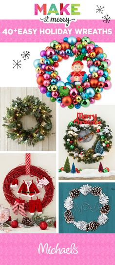 Christmas DIY: Greet all who enter Greet all who enter your door with one of these DIY Holiday Wreaths! Find your favorite and make it. Wreath Crafts, Christmas Projects, Holiday Crafts, Holiday Fun, Festive, Christmas Ideas, Holiday Decor, Holiday Wreaths, Christmas Decorations