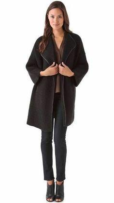 Vince Leather Trim Sweater Coat