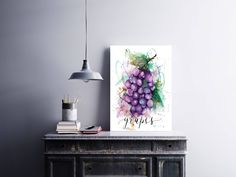 Grapes Kitchen art, Grapes illustration, Kitchen art, Fruit Illustration, fruit Grapes watercolor, Kitchen Print, Art print, Food Art by sanketi on Etsy