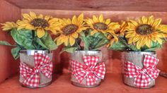 Tin cans centerpieces with burlap, gingham fabric and silk sunflowers