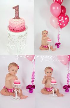 One Year Photos - Cake Smash - but in blue or green or other boy-ish color! One Year Birthday, Baby Girl Birthday, First Birthday Parties, First Birthdays, Birthday Ideas, Fete Emma, 1st Birthday Pictures, 1st Birthday Cake Smash, First Year Photos