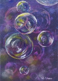 Bubbles in Purple, Acrylic painting inspired by bubbles
